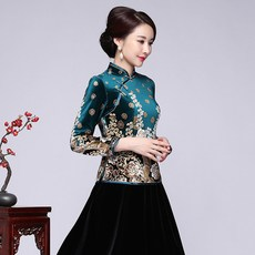 980d1c3d327 qc0h 벨벳 상의 쇼트 이모션 치파오 긴소매 롱슬리브 드레스 예복 여성 여자 겨울 가을