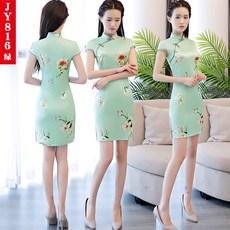 36b7aa700de hpmb 치파오 여성 여자 원피스 편한옷 쇼트 데일리 일상 슬림핏 날씬해보이는 슬림 체형커버