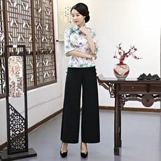 3c331784283 c0ni 세트 슈트 수트 스타일리쉬 칠부소매 편한옷 에스닉 치파오 쇼트셔츠 바지 팬츠 컴포트
